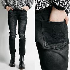 Remember Click Embossed Skull Skinny Jeans BLACK S M L Korean Wear #RememberClick #SlimSkinny