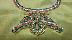 Kundan work embroidery to resemble temple work for Saree blouse