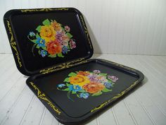 Vintage Hand Painted Look Multicolor Flowers Litho on Black Enamel Metal Trays Set of 2 - Shabby Chic BoHo Bistro Display Floral Bouquet Duo $22.00