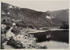 The Whanganui River and surrounding countryside at Pipiriki photographed by Thomas Pringle in about Inscriptions: Album page - beneath image. Countryside, New Zealand, River, History, Places, Outdoor, Image, Outdoors, Lugares