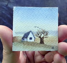 Tiny landscape watercolor painting for doll-house Watercolor And Ink, Watercolor Projects, Watercolour Tutorials, Watercolor Techniques, Painting Techniques, Watercolor Art Landscape, Landscape Art, Landscape Photography, Watercolor Paintings