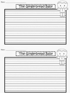 FREE Writing Paper for The Gingerbread Baby by Jan Brett. Half ...
