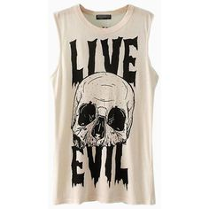 Cool White Loose Vest With Skull Print ($26) ❤ liked on Polyvore featuring tops, shirts and tank tops