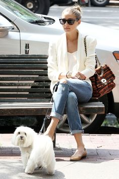 white on white, boyfriend jeans, neutral flats. Great casual Friday outfit.