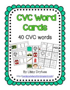 CVC Word Card Activities - 40 Words Use CVC word cards in small group instruction or during stations. Words can be made can using letter tiles or a dry erase marker. Also included are pictures with word card for matching games or memory as well as recording worksheets with or without vowel help. Kindergarten Reading Activities, Homeschool Kindergarten, Reading Resources, Teaching Reading, Teaching Ideas, Future Classroom, Classroom Ideas, Spelling Ideas, Reading Words