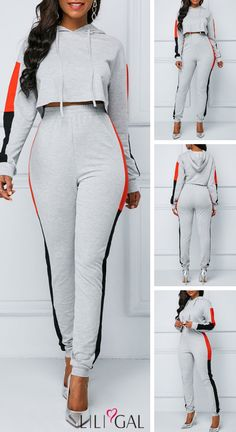 Hooded Collar Light Grey Drawstring Top and Pants Jumpsuit Outfit, Models, Jumpsuits For Women, School Outfits, Style Me, Pajamas, Rompers, Fashion Outfits, Grey