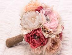 Fabric Flower Custom Wedding Bouquet with by RenesFabLab on Etsy, $161.75