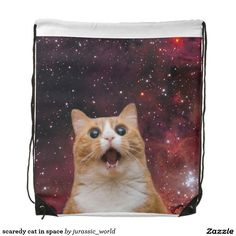 scaredy cat in space drawstring bag