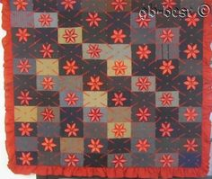 Jewel Tones! Antique Stump Work QUILT Mennonite PA made by Sallie Heffner