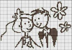 Cute bride and groom X-stitch pattern Cross Stitching, Cross Stitch Embroidery, Cross Stitch Patterns, Wedding Cross Stitch, Cross Stitch Heart, Crochet Cross, Filet Crochet, Beading Patterns, Embroidery Patterns