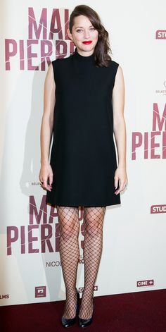 Marion Cotillard Styles Her Baby Bump in a Parisian Chic LBD and Fishnets from InStyle.com