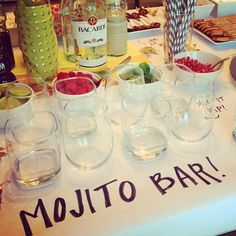 Because mojitos are my favorite drink - at my wedding I'll have a mojito bar with just glasses and fillings (mint leaves, raspberries, strawberries, pom seeds, lime, sugar, etc...) then guests hand their drink to the bartender to make :)