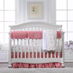 Linen Crib Bedding Pink Baby