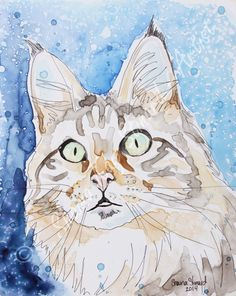 CUSTOM SKETCHES / MIXED MEDIA ON YUPO/ PORTRAITS/ PETS/CATS by Shaina Kay Stinard - Artist.  Making your photos a work of art!  www.shainastinardartist.com  'Chloe' - 8 x 10 mixed media sketch on Yupo paper - watercolor with pen and ink