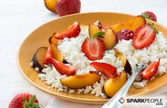 No-cook #healthy breakfast: Choose low-fat cottage cheese, then top with your favorite summer fruit. Berries are a perfect pair, as are peaches or melon. Round out the meal with a slice of whole-grain bread. | via @SparkPeople #summer