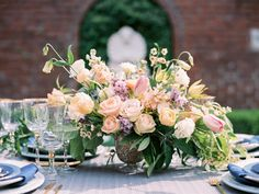 Classy Floral Bouquet Table Setting Wedding