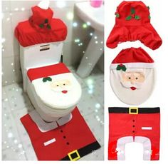60pcs 4pcs Set Christmas Xmas Santa Toilet Seat Cover Rug Bathroom Mat