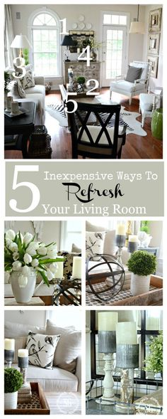 5 INEXPENSIVE WAYS TO REFRESH YOUR LIVING ROOM- Create a room you love in 5 easy steps! stonegableblog.com