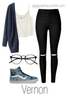 """""""Casual City Date // Vernon"""" by suga-infires ❤ liked on Polyvore featuring H&M and Vans"""