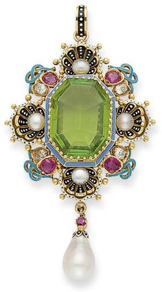 Gold, Peridot, Pearl, Diamond, Ruby and Enamel Pendant. Beautifully colored and set piece, ca. 1870's.