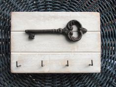 Shabby White Distressed Wall Rack Key / Jewelry by WileWood