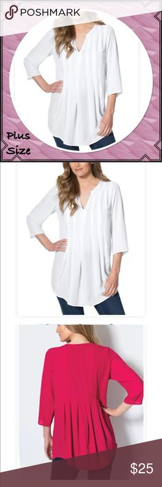"""Plus Size White Pleated tunic blouse A feminine pleated blouse is a nice addition to your fall wardrobe. in a A-line fit 30"""" ends at upper thigh with a notch neckline set-in 3/4 sleeves pleats in front & back with a rounded sweep georgette/polyester. woven soft washable 3X(30W-32W) Tops Tunics"""