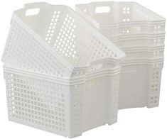 Amazon.com: Saedy Stackable Plastic Storage Baskets, White Basket Bin, 6-Pack: Clothing Plastic Basket With Handle, Plastic Baskets, Plastic Storage, Plastic Laundry Basket, Laundry Hamper With Lid, Laundry Box, Laundry Sorter, Freezer Storage, Extra Storage