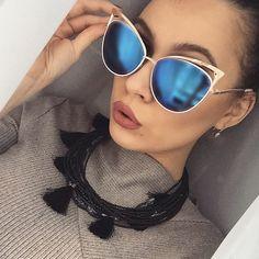 Cat Eye Women Rose Gold Sunglasses