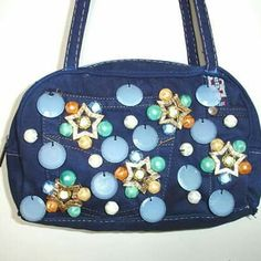 Blue Jeans purse with plexiglass and metal decorations www.etsy.com/it/shop/ArtMadeBijoux