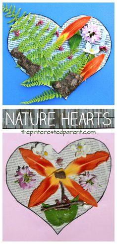 I heart nature. Nature heart art. Summer arts and crafts projects for preschoolers & kids. Use leaves, flowers, bark, twigs and sticks