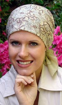 BEA:  flashback #7 2010  cotton head scarves for cancer patients, repeating patterns, subtle colors, short tie