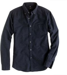 Black Slim Vintage Oxford Shirt in Heathered Cotton 35232 40.25