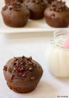 Chocolate Raspberry Ricotta Muffin Recipe - moist and delicious without any oil or butter!