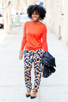 Amazing use of color and a great printed pant.