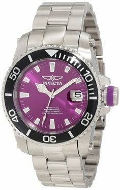 Invicta Men's 11213 Pro Diver Automatic Purple Dial Watch Invicta. $149.99. Magnified date window at 3:00. Flame-fusion crystal; stainless steel case and bracelet. Precise 24 jewels japanese automatic movement. Water-resistant to 200 M (660 feet). Purple dial with silver tone and hour markers; luminous; unidirectional stainless steel bezel with black ring; stainless steel screw-down crown with purple accent; exhibition case back; interchangeable purple polyuret...