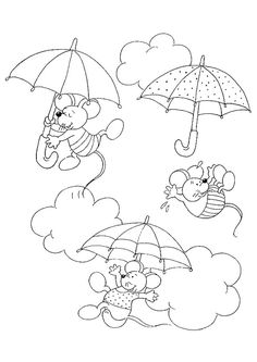 Image of three mice flying in the clouds with their umbrellas, colored . Free Printable Coloring Pages, Coloring Pages For Kids, Coloring Books, Mouse Color, Lol Dolls, Cartoon Kids, Trees To Plant, Diy For Kids, Hand Embroidery