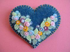 Felt Applique Flower Heart Pin
