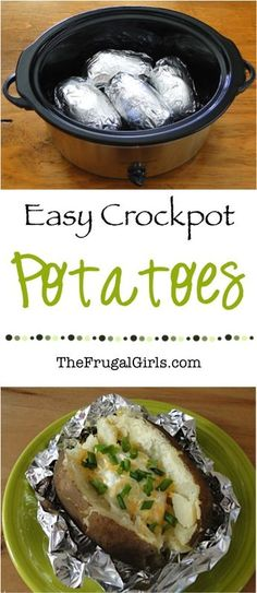 Crock Pot Baked Potatoes Recipe! ~ from TheFrugalGirls.com ~ you will love this…