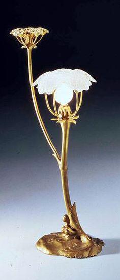 Art Nouveau - Lampe 'Les Ombelles' - Bronze Doré - Maurice Bouval