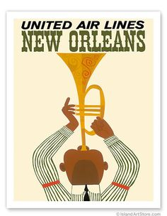 New Orleans - Jazz Trumpet Player - United Air Lines - Giclée Art Prints & Posters