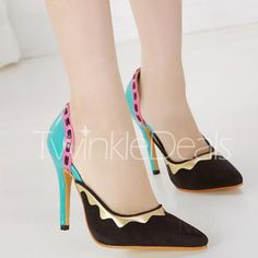 Fashion Style Color Block and Pointed Toe Design Women's Pumps