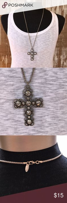 """Crystal cross necklace Beautiful crystal cross necklace 30"""" chain. Cross is 3"""" long. Silver metal, claw clasp. Stones are clear Jewelry Necklaces"""