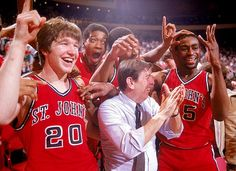 John's coach Lou Carnesecca celebrates with Chris Mullin and Billy Goodwin after winning the Big East championship Basketball History, Basketball Coach, College Basketball, Chris Mullin, College Hoops, Final Four, San Jose Sharks, March Madness, Oakland Athletics