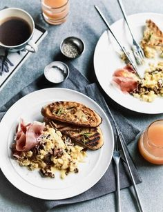 Scrambled Eggs with Porcini and Prosciutto ~ with rosemary & parmesan, served with sourdough