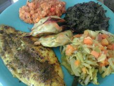 An African meal with fish, lentils, & greens.