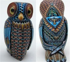Owl Mama T by polymer clay artist Jon Anderson