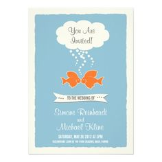 Beach Wedding Invitation with kissing Fish