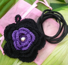 HandCrochet Flower Pendant Midnight Black & Deep by MarKateLiz, $12.50