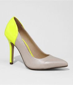 Express Womens Neon Accent Pointed Toe Leather Pumps