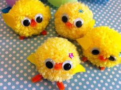 More pom-pom yarn chicks - i would stitch the eyes with yarn instead of googly, I think.
